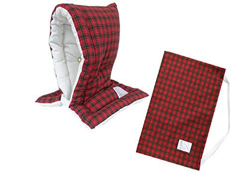 防災ずきん専用カバー付 日本製(小学生から大人まで)Lサイズ 防災クッション(約30×46cm) (チェックC柄(レッド))