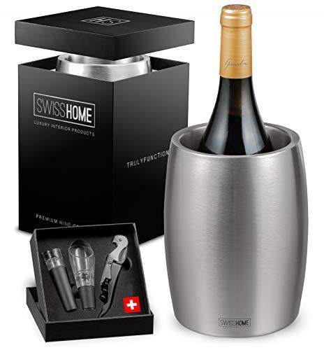 swisshome - Weinkühler/Sektkühler mit Sommelier-Set (Belüfter, Vakuumverschluss & Flaschenöffner) aus Edelstahl in Premium Geschenkverpackung | Champagner-Flaschen bis 1.5L & Ø 10cm