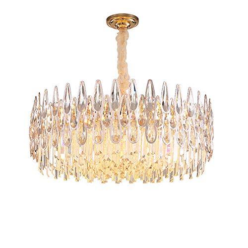 CX Lujos de Cristal Moderno de Lujo, Lámparas de Techo de Cristal de Oro E14 Luces Colgantes Ajustables Decoración para el Hogar para Sala de Estar Comedor Dormitorio-9Light 60 * 24