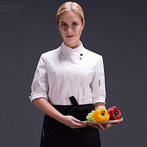 Food Chef Küchenjacke Weiß Hotel Uniform Sommer Restaurant Kellner Arbeitskleidung Kleidung Damen Küchenjacke,White,S