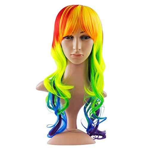 Discoball - Peluca para mujer, diseño de «Mi pequeño poni» con rayas multicolores del arcoíris, resistente al calor, para disfraz de Halloween, cosplay de anime y fiesta