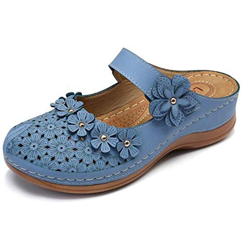 NHMDE Damessandalen, zomer vintage bloem wig schoenen dames sandalen mode gladiator casual schoenen mode dikke onderen in elegant donkerblauw eenvoudig ademend charme
