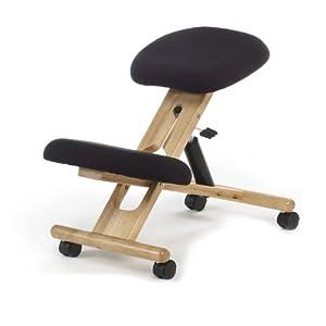 duehome – Silla de oficina ergonomica, silla acabado en color Negro y madera de maya