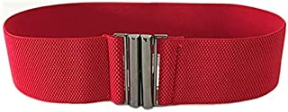 Happy-L Spring and Summer Ladies Skirt Dress Belt Ladies Casual Fashion Wild Belt Elastic Waistband (Color : Red)