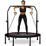 RAVS Mini Trampoline for Kids Adults 48' Foldable Fitness Rebounder Trampoline with 5 Levels Height Adjustable Handle, Resistance Bands - Exercise Trampoline Indoor Workout Max Load 440lbs
