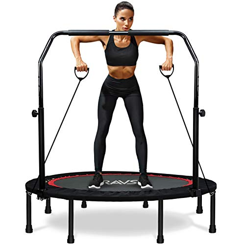 """RAVS Mini Trampoline for Kids Adults 48"""" Foldable Fitness Rebounder Trampoline with 5 Levels Height Adjustable Handle, Resistance Bands - Exercise Trampoline Indoor Workout Max Load 440lbs"""