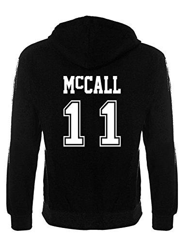 Teen Wolf Sweat à capuche de sport noir avec inscription Beacon Hills, Stilinski, Lahey, McCall, Lacrosse - Noir - Taille Unique