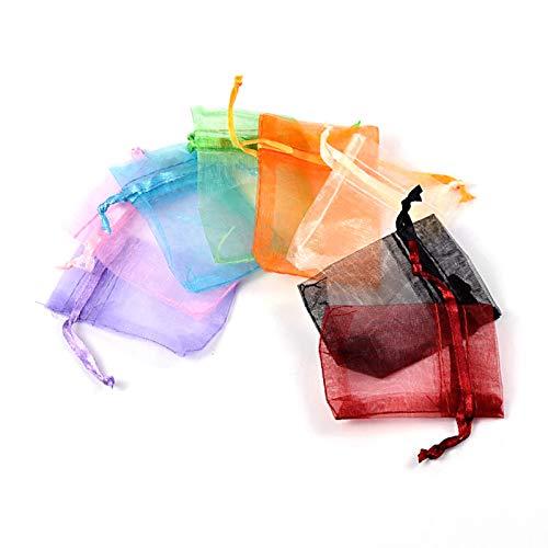 Craftdady 500 bolsas de organza de regalo de 7 x 5,5 cm con cordón de organza, bolsas de regalo para bodas, fiestas, dulces, joyas, colores al azar para cumpleaños o aniversario