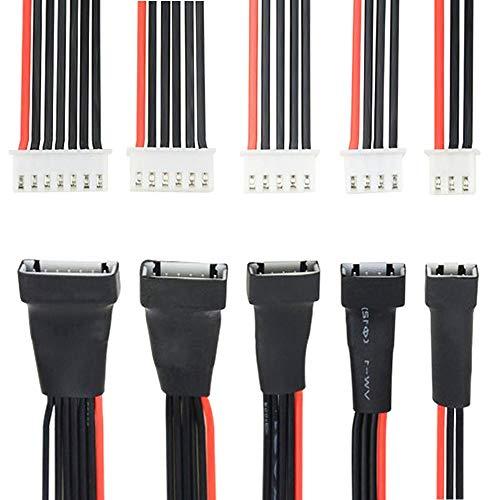 GTIWUNG 5 Stück 2S 3S 4S 5S 6S Balance Ladegeraet Kabelverlaengerung, Batterie-Verlaengerungskabel, Verlängerungskabel für das Batterie-Ladegerät, Lipo Baterrie JST-EH Stecker Ladekabel