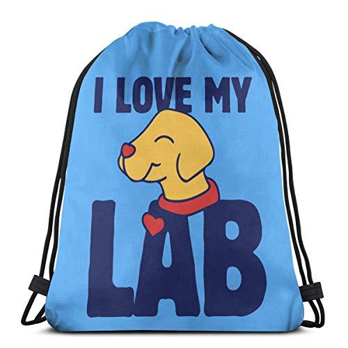 I Love My Lab - Mochila unisex con cordón, poliéster, bolsa de gimnasio, bolsa de deporte, mochila informal para mujer, 36 x 43 cm