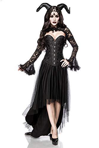 Mask Paradise- 5 Piezas Demonio gótico de Vampiro para Mujer, Disfraz de Halloween Negro Queen Set, Color, Large (80092-002-025)