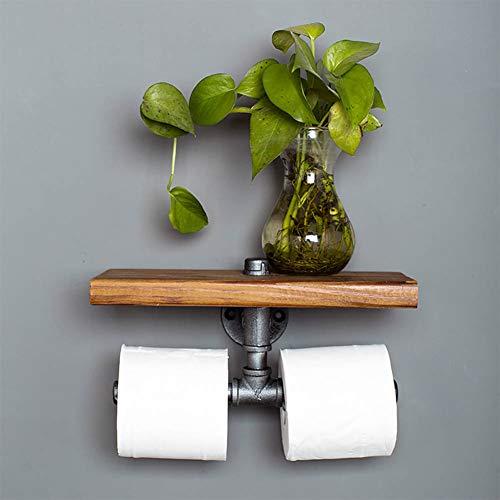 Portarrollos de papel higiénico vintage montado en la pared, tubo industrial con...