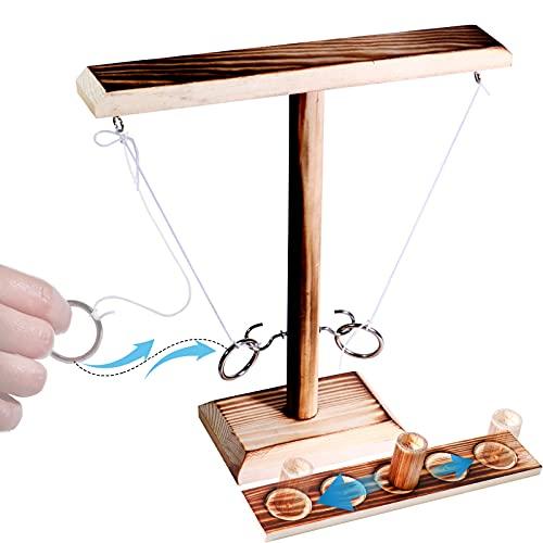 リングトスゲーム クラギーフックゲーム アウトドア ハンドメイド 木製リングトスフック ペースの速いインタラクティブゲーム バー 自宅 大人 飲酒 ゲーム & おもちゃ 子供大人用