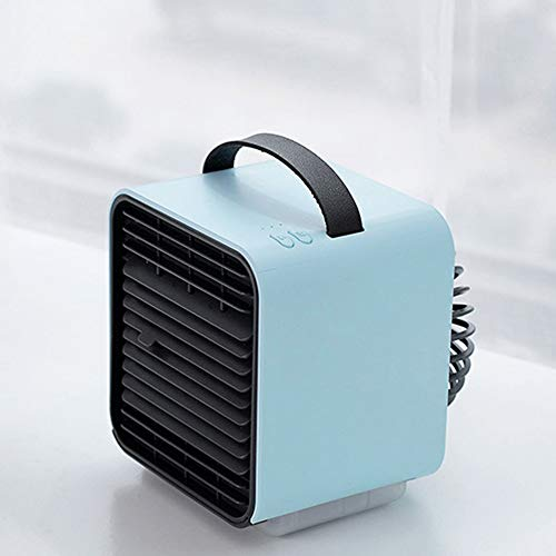Portable Air Conditioner Fan, Mini Evaporative Personal Air Cooler with Blue Atmosphere Lamp, 3 Fan Speed,Timing,Super Quiet - Anion Generator,Purifiers ,Humidifier,Misting Fan,Night Light,Blue