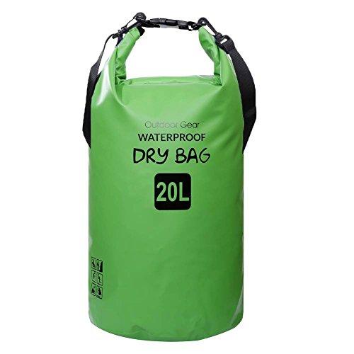 ZhaoCo Wasserdichter Packsack, 5L/10L/20L/30L wasserdichte Tasche Sack PVC Dry Bag für Kayaking, Bootfahrt, Kanufahren, Fischen, Rafting, Schwimmen, Kampieren, Snowboarding Wassersport(Grün, 5L)