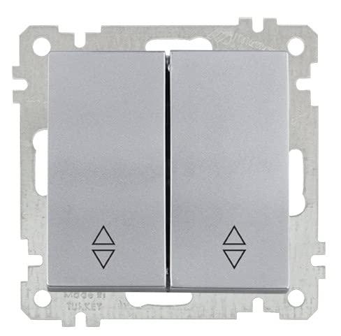 Mutlusan Candela - Interruptor doble para empotrar (2 vías), color plateado y plateado