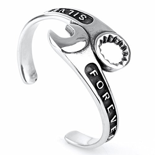 COPAUL de los hombres pulsera de acero inoxidable mecánico de llave inglesa herramienta brazalete de plata