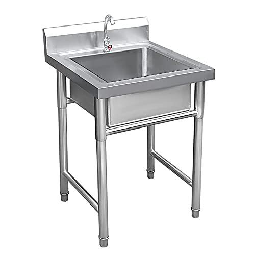 Fregadero comercial, fregadero de cocina de acero inoxidable con grifo, lavabo portátil montado en el piso, piscina para lavandería, patio trasero, garajes/B / 0.6mm
