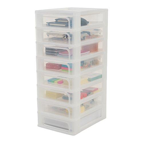 Iris Ohyama OCH-2080, Torre de Almacenamiento con 8 cajónes-Organizer Chest OCH-2080-Plástico, Blanco/Transparente, 60 L, 26 x 35,5 x 65,5 cm, 8 x 4 L