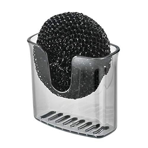 iDesign Estropajero, pequeño Porta plástico con Ventosa, Organizador de Fregadero para esponjas o estropajos de Cocina, Gris, 9,8 cm x 5,1 cm x 8,4 cm