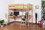 Kinderbett Hochbett Patrick Buche massiv Natur mit Schreibtischplatte, inkl. Rollrost - 90 x 200 cm