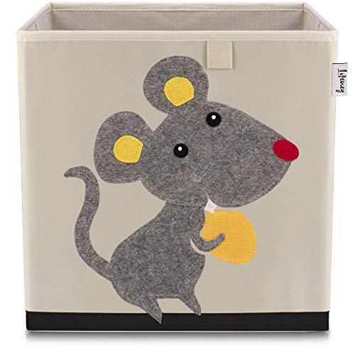 Lifeney Kinder Aufbewahrungsbox I praktische Aufbewahrungsbox für jedes Kinderzimmer I Kinder Spielkiste I Niedliche Spielzeugbox I Korb zur Aufbewahrung von Kinder Spielsachen (Maus hell)