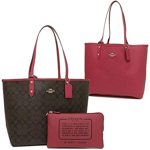 COACH SIGNATURE REVERSIBLE PVC CITY TOTE (Brown-Hot Pink) F36658