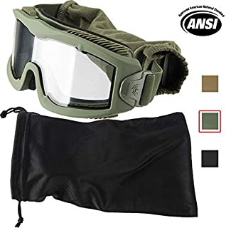 Lancer Tactical AERO 3mm Thick Dual Pane Lens Eye Protection Safety Goggle System ANSI Z87 1 Rated Industry Standard Panel Ventilated w/Anti-Scratch Shield Fully Adjustable (OD Green/Clear)