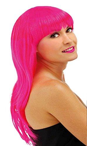 Folat 26701 – Perruque Cheveux Long avec Frange – Taille Unique – Rose
