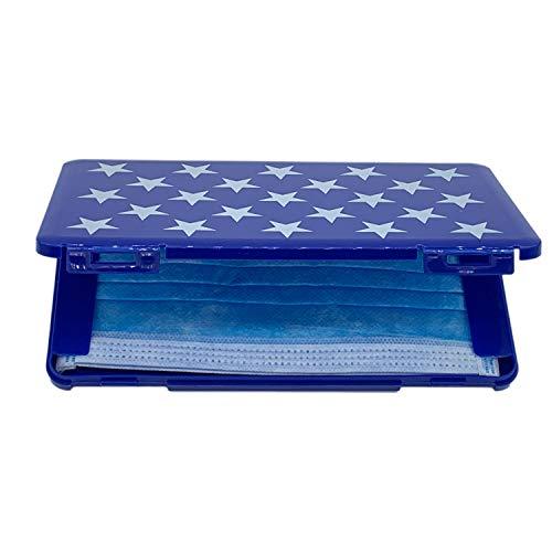 Ousyaah Caja portátil de Almacenamiento de mascarillas Desechables, Caja de Limpieza a Prueba de Polvo y Humedad, Caja de Almacenamiento de algodón filtrado (Azul Oscuro)