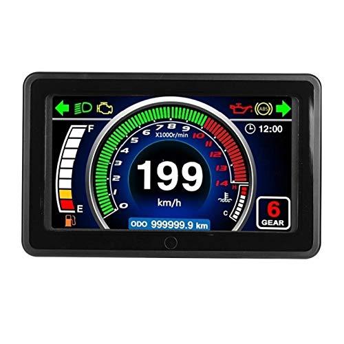 Qqmora Medidor LCD de odómetro práctico Impermeable Multifuncional para Motocicleta