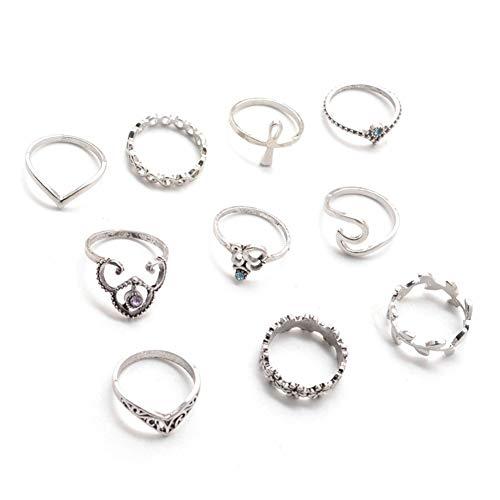 PULABO - Set da 10 anelli intagliati a forma di corona in argento antico con foglie e fiori e nocche midi anello per le donne, gioielli adorabili e pratici