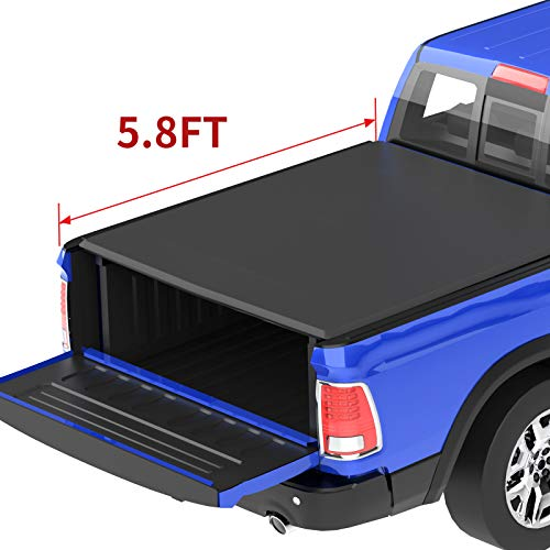 oEdRo Roll Up Truck Bed Tonneau Cover Compatible with 2009-2020 Dodge Ram 1500 with 5.8 Feet Bed, Fleetside