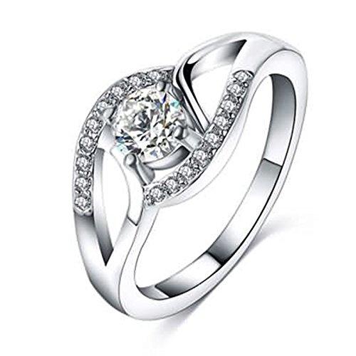 Anyeda Versilbert Ring Ring Rosegold Tchibo Zirkonia Unendlichkeit Ring Silber Ring Gold Perlmutt Ringgröße 54 (17.2)