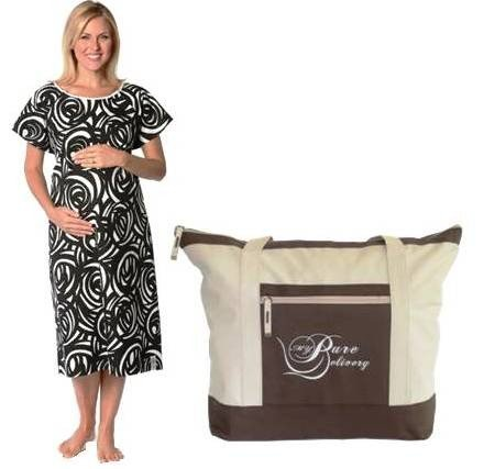 Organic Pippa Hospital Gown & My Pure Delivery Hospital Tote Bag Combo