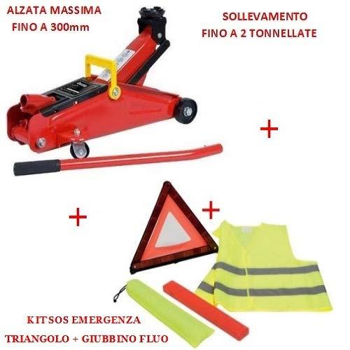 Compatibel met Casalini set voor auto's, hydraulische krik + SOS-kit voor wegverkeer auto nooddriehoek + veiligheidsvest + hoes
