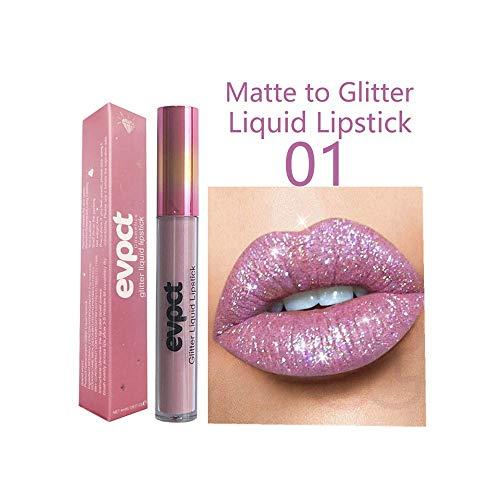 ODJOY-FAN Mode Lippe Lippenstift Kosmetika Frau Sexy Wasserdicht Lippen Metallisch Lippe Glanz...