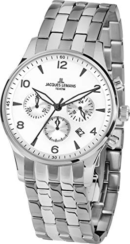 Jacques Lemans Reloj Cronógrafo para Hombre de Cuarzo con Correa en Acero Inoxidable 1-1654ZF