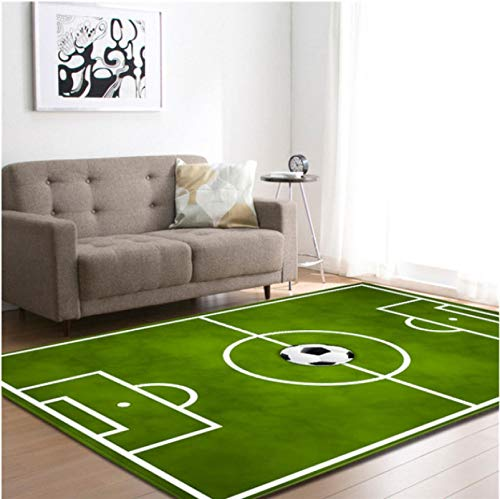 Alfombra De Fútbol Impresa En 3D En El Campo De Fútbol, Alfombra Antideslizante Para Sala De Estar, Alfombra De Juego De Balcón De Dormitorio 120 * 160 Cm