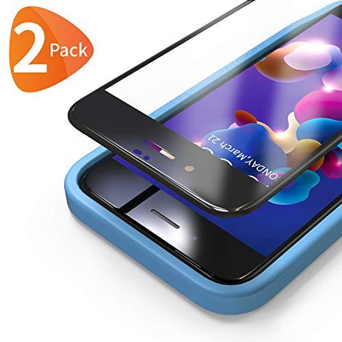 Bewahly Cristal Templado para iPhone 7 Plus / 8 Plus [2 Piezas], 3D Completa Cobertura Protector Pantalla con Marco de Instalación Fácil, 9H Dureza Vidrio Templado para iPhone 7 Plus / 8 Plus (Negro)