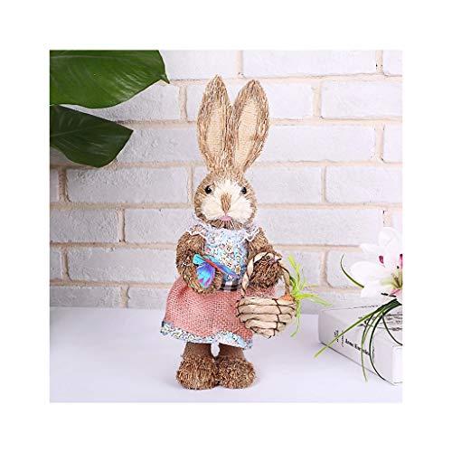 Mengmengda Bonito conejo de paja, decoracin de Pascua, decoracin de vacaciones, hogar, jardn, boda, accesorio de foto
