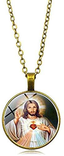 CAISHENY Virgen Madre de bebé Collar Jesucristo Colgante Cristiano católico religioso azulejo de Vidrio Collares Colgantes
