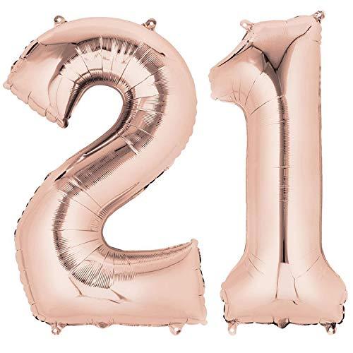 Ouinne Globo 21 Años, 40 Pulgadas Globo del Cumpleaños Número 21 Helio Globos para La Decoración Boda Aniversario (Oro Rosa)