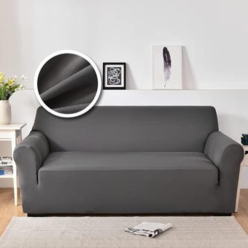 ABUKJM Fundas Sofa Elasticas, Tejido De Poliéster, Universal, Todo Incluido, para La Funda para Sofa De La Sala De Estar, Adecuado para La Mayoría De Los Sofás (Dark Gray,1 Seater 90-130cm)
