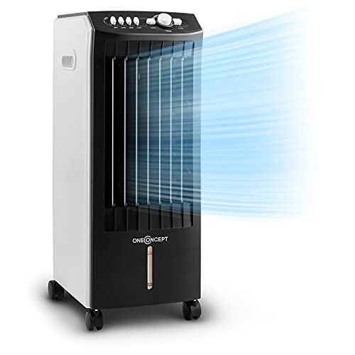 Oneconcept MCH-1 V2 - Enfriador de Aire 3 en 1, Ventilador y humidificador, Tanque de 7 litros extraíble, Flujo de 360 m³/h, 3 Modos de Viento, Oscilación Horizontal, Temporizador, Gris Granito