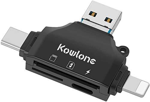 Lector de tarjetas SD, lector de tarjetas de memoria Micro SD/TF con 4 en 1 USB/tipo C/adaptador...