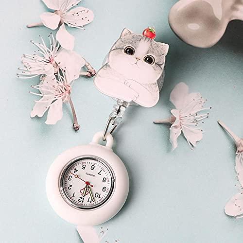YYMY Reloj de Bolsillo médico paramédico,Reloj de Bolsillo escalable de Silicona para Enfermera, Hangar médico Luminoso Estilo Clip Impermeable-Blanco 8