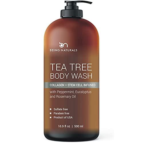 Tea Tree Body Wash -w/ Stem Cell, Collagen & Organic TeaTree Oil Fights Body Odor, Acne, Athlete's Foot, Jock Itch, Dandruff, Eczema, Yeast Infection, Shower Gel for Women & Men, Skin Cleanser 16.9 oz
