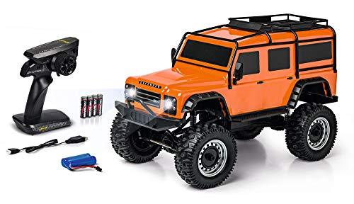 Carson 500404171 Land Rover Defender 1:8 – fuoristrada radiocomandato fino a 20 km/h, 100% RTR, con batterie e batteria con illuminazione a LED, colore: Arancione
