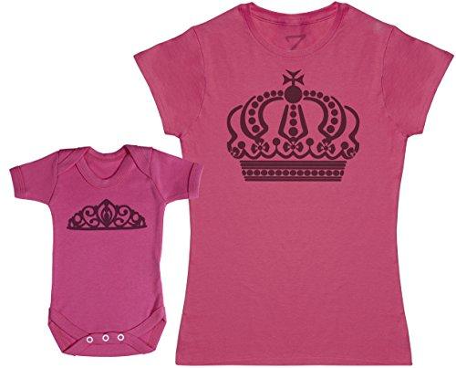Zarlivia Clothing Queen and Princess Crowns - Ensemble Mère Bébé Cadeau - Femme T Shirt & bébé Bodys - Rose - XL & 0-3 Mois